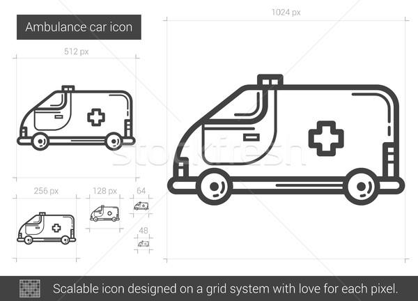 Krankenwagen Auto line Symbol Vektor isoliert Stock foto © RAStudio