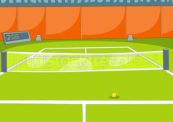 Cartoon background of tennis court. Stock photo © RAStudio