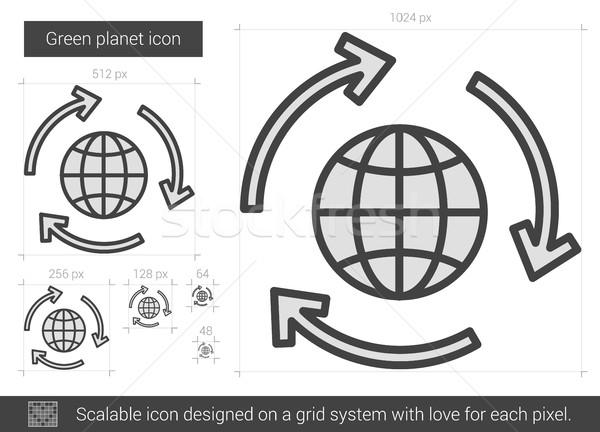 Photo stock: Vert · planète · ligne · icône · vecteur · isolé