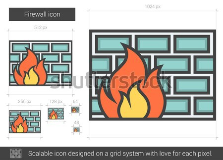Tűzfal vonal ikon vektor izolált fehér Stock fotó © RAStudio