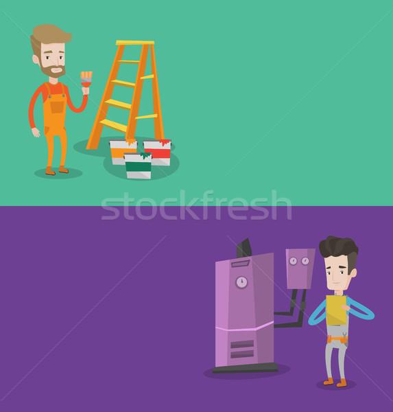 Stock fotó: Kettő · építkezés · bannerek · űr · szöveg · vektor