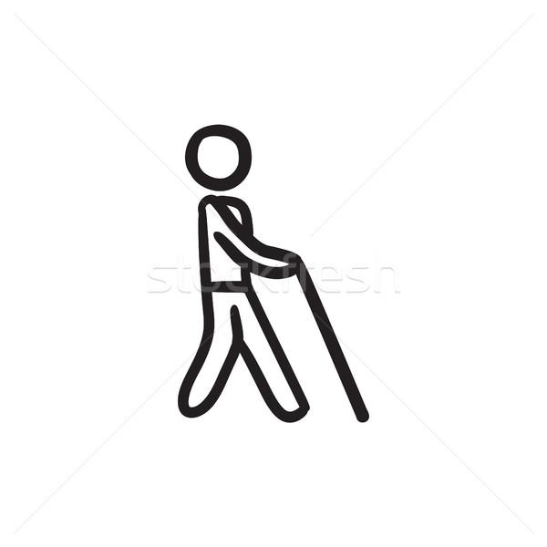 Ciego hombre palo boceto icono vector Foto stock © RAStudio