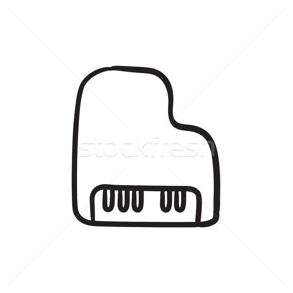 Stock fotó: Zongora · rajz · ikon · vektor · izolált · kézzel · rajzolt