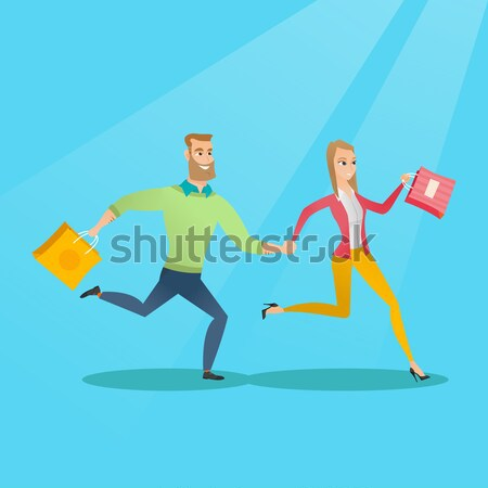 People running in hurry to the store on sale. Stock photo © RAStudio