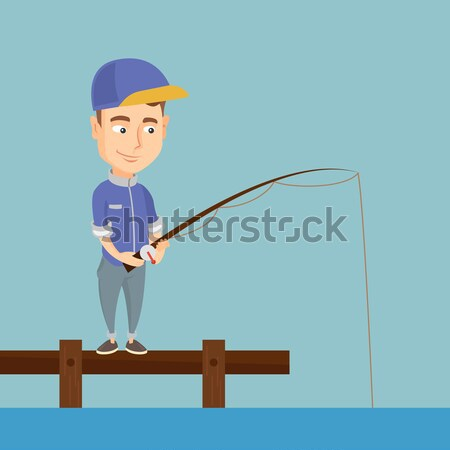 Man fishing on jetty vector illustration. Stock photo © RAStudio
