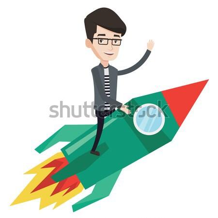 Stock fotó: üzlet · kezdet · felfelé · ázsiai · férfi · ül