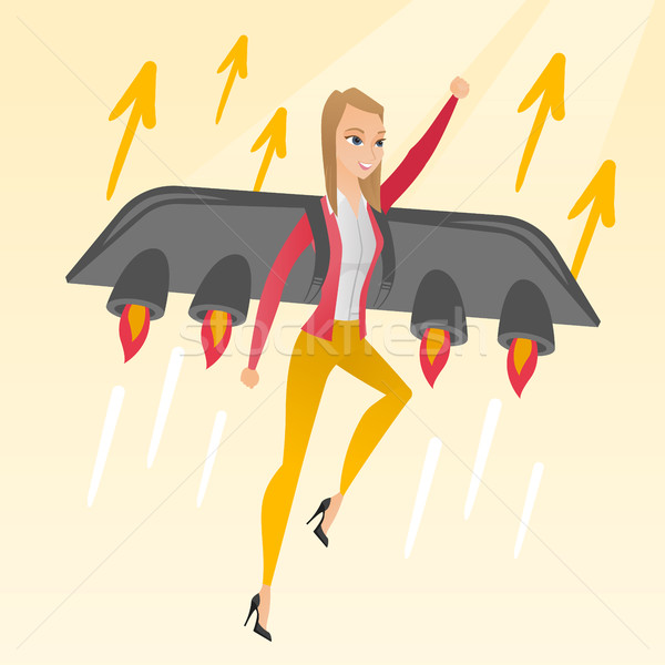 Business woman flying on the rocket to success. Foto stock © RAStudio