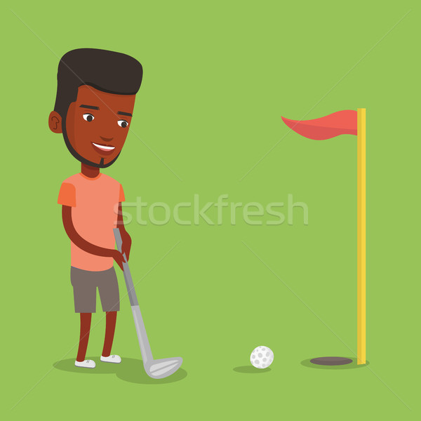 Golfista pelota jóvenes masculina jugando golf Foto stock © RAStudio
