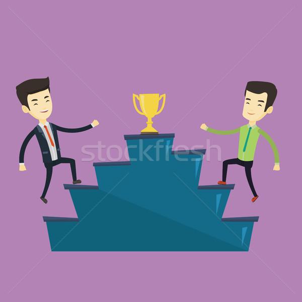 üzletemberek versenyző üzlet díj kettő ázsiai Stock fotó © RAStudio