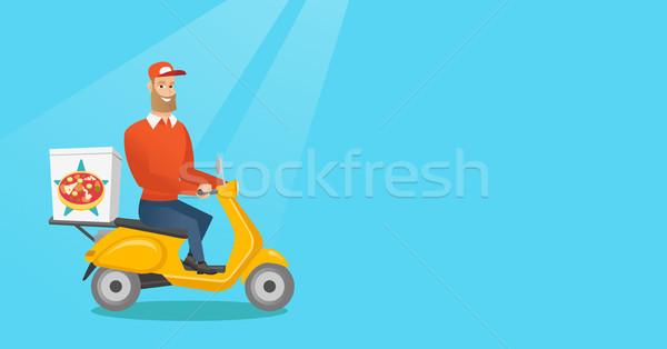 Foto stock: Hombre · pizza · joven · mensajero · conducción