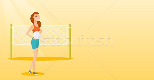 Młodych plaży siatkówka gracz stałego Zdjęcia stock © RAStudio