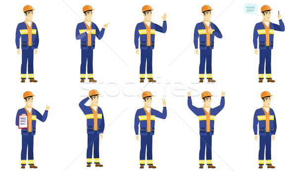 Vector set of builder characters. Stock photo © RAStudio