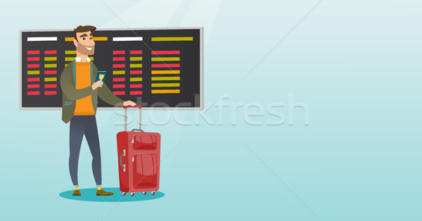 Caucásico avión pasaporte jóvenes espera Foto stock © RAStudio