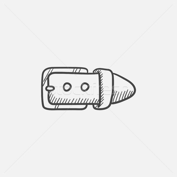 Gordel gesp schets icon web mobiele Stockfoto © RAStudio