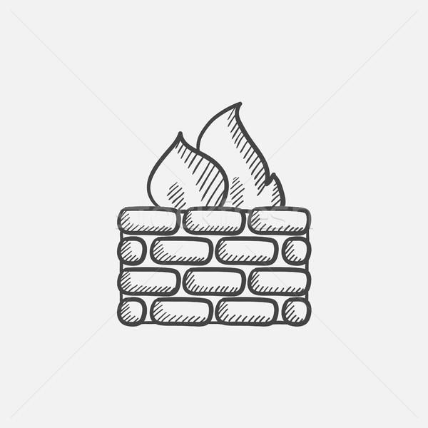 Tűzfal rajz ikon háló mobil infografika Stock fotó © RAStudio