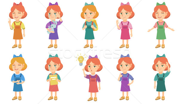 Little caucasian girl vector illustrations set. Stock photo © RAStudio
