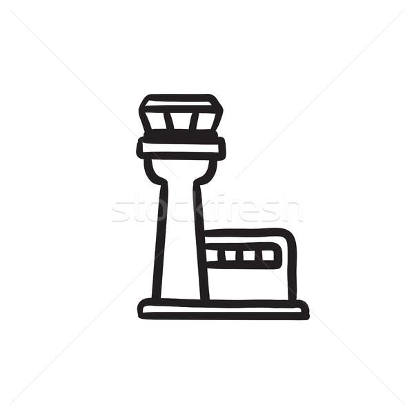 Vlucht controle toren schets icon vector Stockfoto © RAStudio