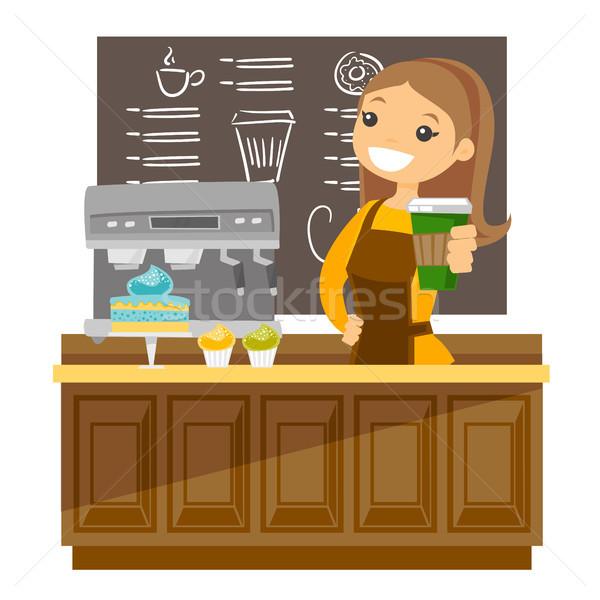 Fiatal kaukázusi barista készít csésze kávé Stock fotó © RAStudio