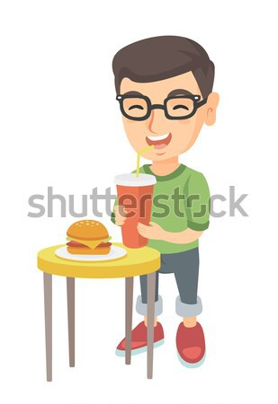 Petite fille potable soude manger cheeseburger peu Photo stock © RAStudio