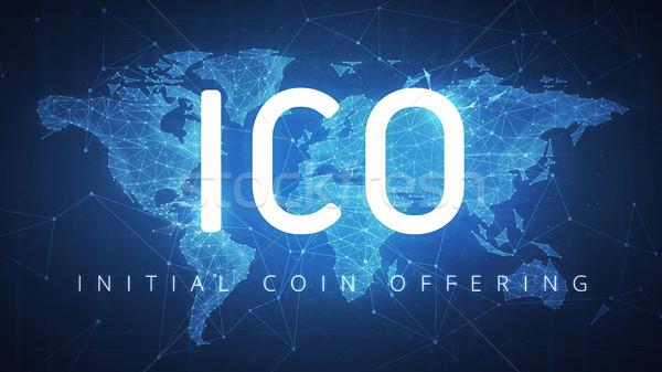 ICO initial coin offering on futuristic hud banner Stock photo © RAStudio