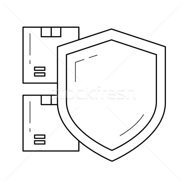 Paquet assurance vecteur ligne icône isolé Photo stock © RAStudio