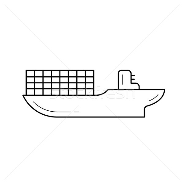 Cargo ship vector line icon. Stock photo © RAStudio