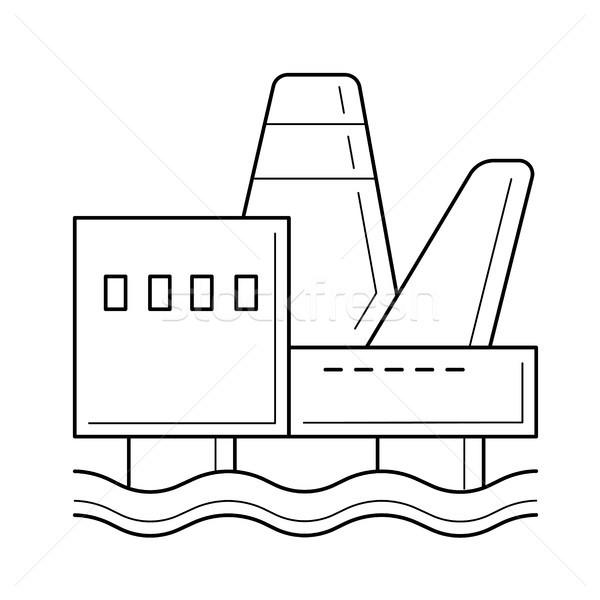 Offshore vector lijn icon zee Stockfoto © RAStudio