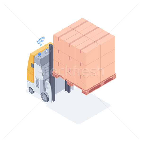 Wi-fi forklift lifting boxes isometric vector illustration Stock photo © RAStudio