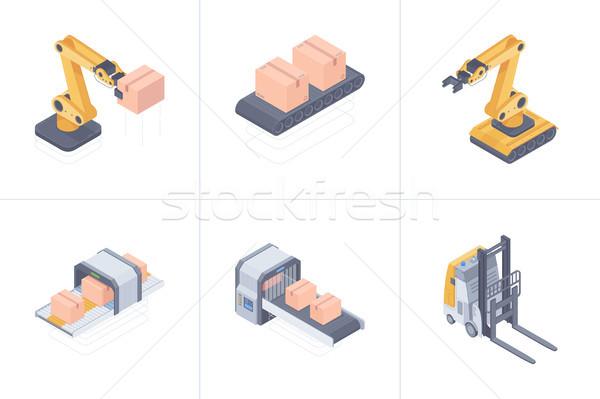 Сток-фото: набор · Smart · склад · изометрический · иллюстрация