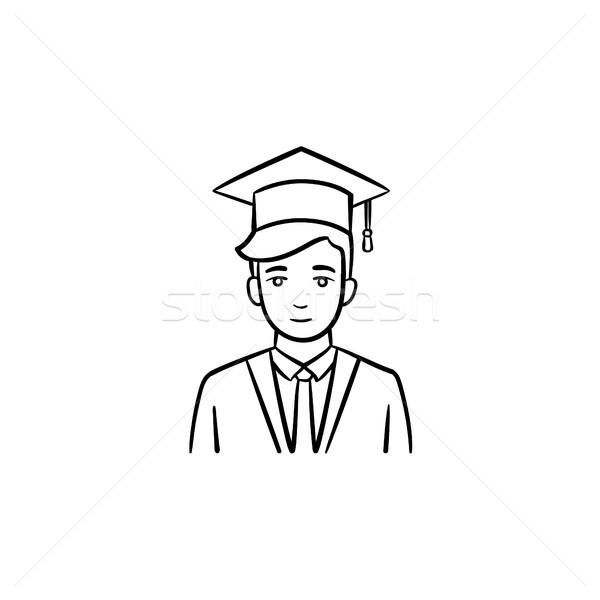 Diplômé étudiant dessinés à la main croquis icône Photo stock © RAStudio