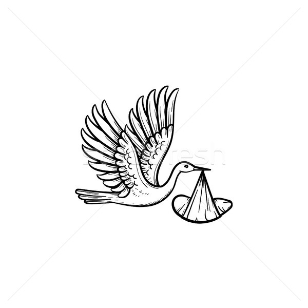 A stork carrying a wraped baby hand drawn outline doodle icon. Stock photo © RAStudio