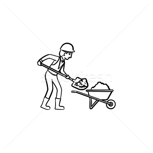 Mining worker hand drawn outline doodle icon. Stock photo © RAStudio