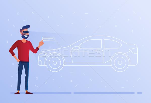 A caucasian man in VR headset testing virtual car. Stock photo © RAStudio