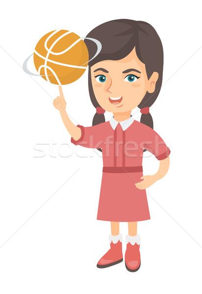 Caucásico nina baloncesto pelota dedo jóvenes Foto stock © RAStudio