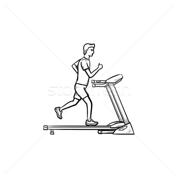 Férfi futópad kézzel rajzolt skicc firka ikon Stock fotó © RAStudio