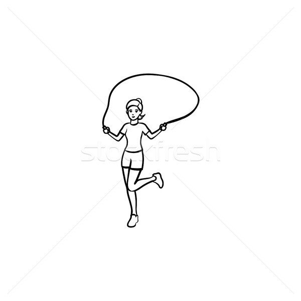 Stock photo: Young girl skipping hand drawn outline doodle icon.