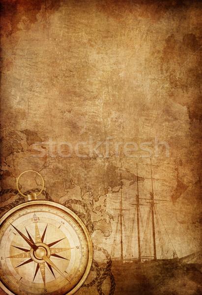 Boussole vieux papier texture rétro navire corde Photo stock © RAStudio