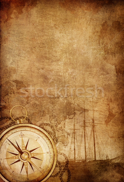 Kompas oud papier textuur retro schip touw Stockfoto © RAStudio