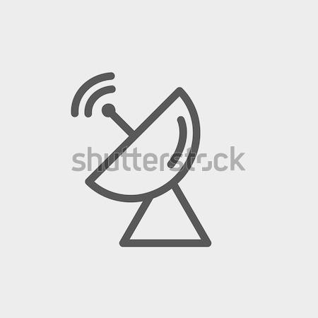 Radar schotelantenne dun lijn icon web Stockfoto © RAStudio