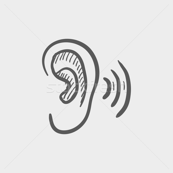 Ear sketch icon Stock photo © RAStudio