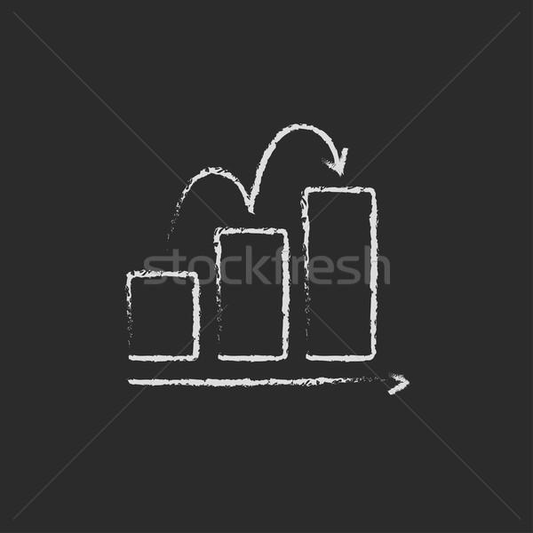 Bar chart upward icon drawn in chalk. Stock photo © RAStudio