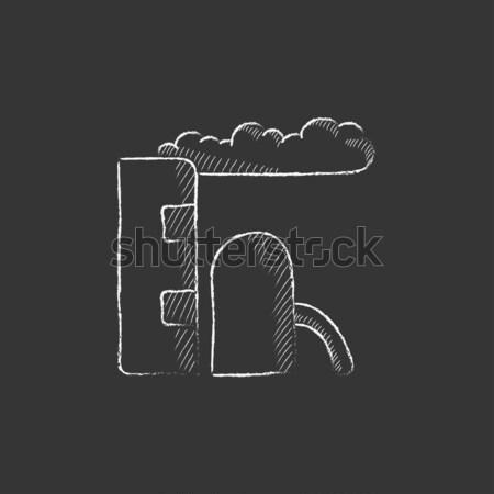 Refinería planta icono tiza dibujado a mano Foto stock © RAStudio