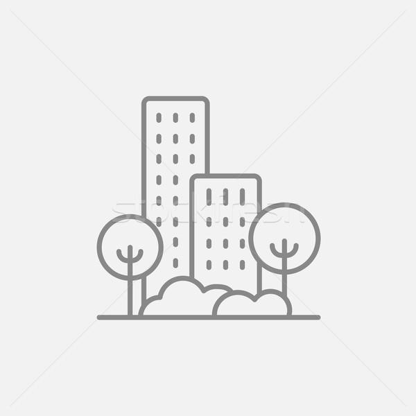 Residencial edificio árboles línea icono web Foto stock © RAStudio