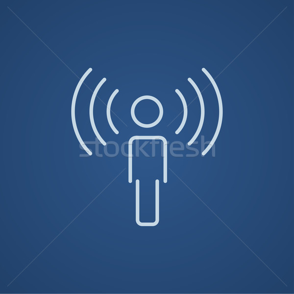 Stock photo: Man with soundwaves line icon.