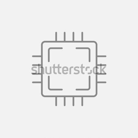 процессор линия икона веб мобильных Инфографика Сток-фото © RAStudio