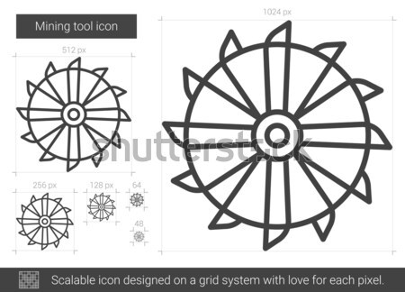 Stock photo: Rotating cutting drum of coal machine line icon.