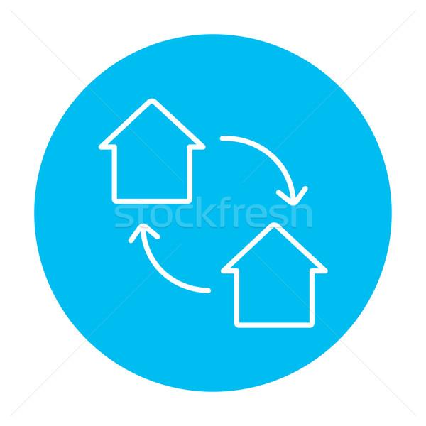 Ev değiştirme hat ikon web hareketli Stok fotoğraf © RAStudio