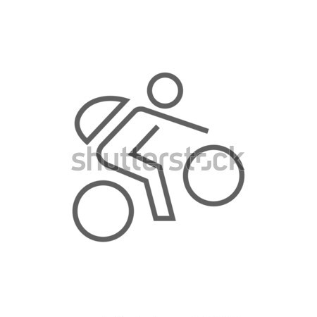 Man riding bike line icon. Stock photo © RAStudio