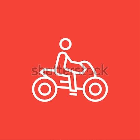 Man riding motorcycle line icon. Stock photo © RAStudio