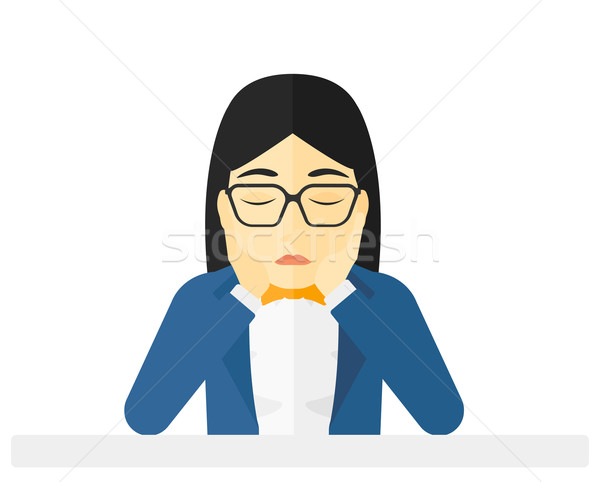 Anxious woman clutching her head. Stock photo © RAStudio